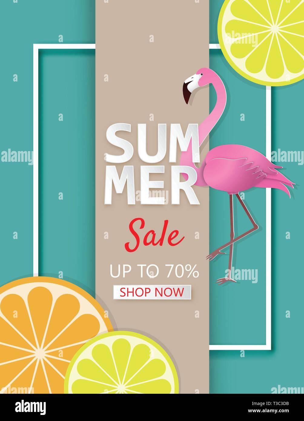 Creative illustration summer sale banner with lemon, orange