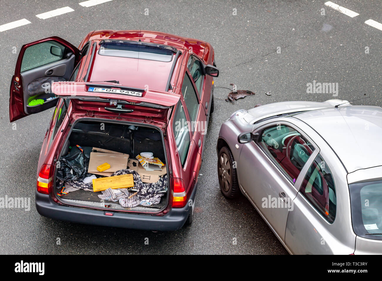 ESSEN / GERMANY - MARCH 19 2019 : Aerial view of car accident on