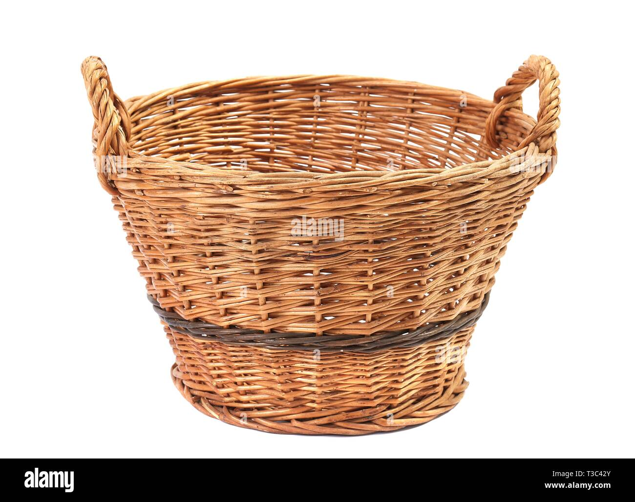 Simple basket on white Stock Photo
