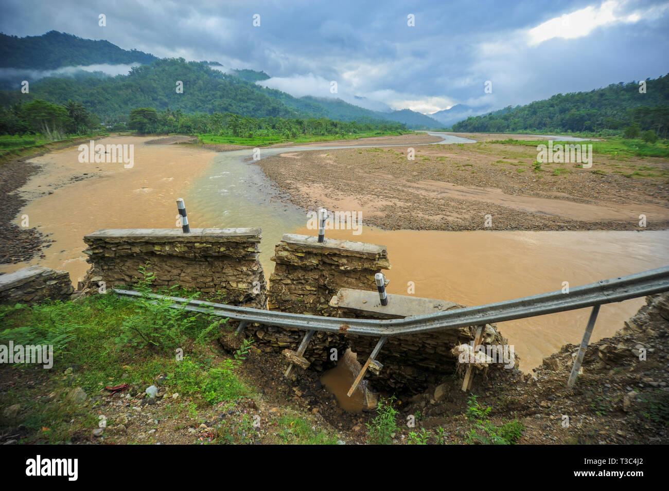 river and broken dam Stock Photo