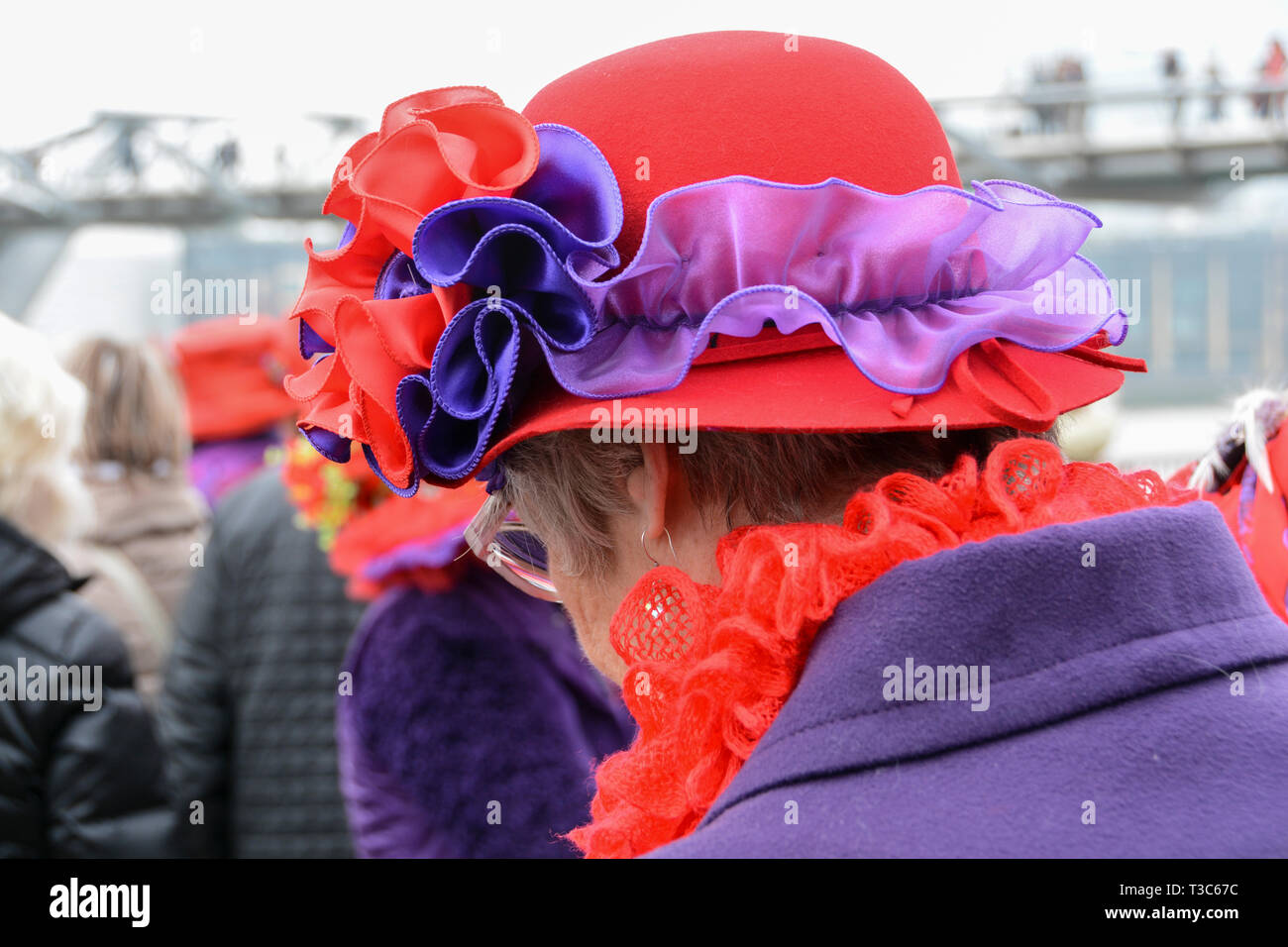 Millinery on display as part of London Hat Walk from the Tate Modern to Tower Bridge, London, UK - Stock Image