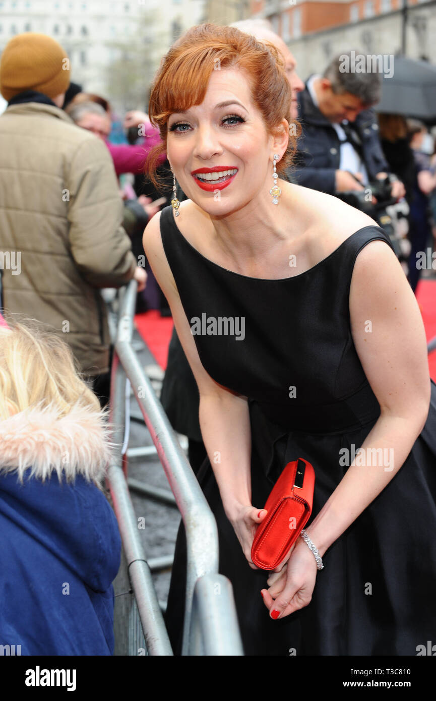 Katherine Parkinson seen arriving on the red carpet during the Olivier awards at the Albert Hall in London. Stock Photo