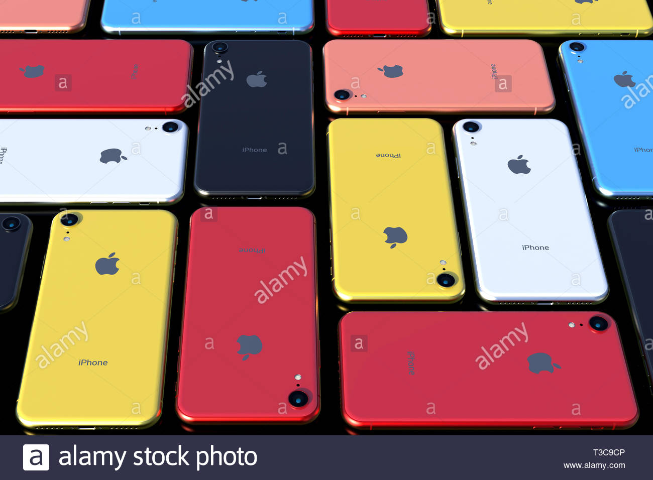 Bucharest April 8, 2019: Apple iPhone XR smart phones - all colours (Red, Yellow, Blue, Coral, Silver and Space Grey) for comparison, arranged pattern - Stock Image