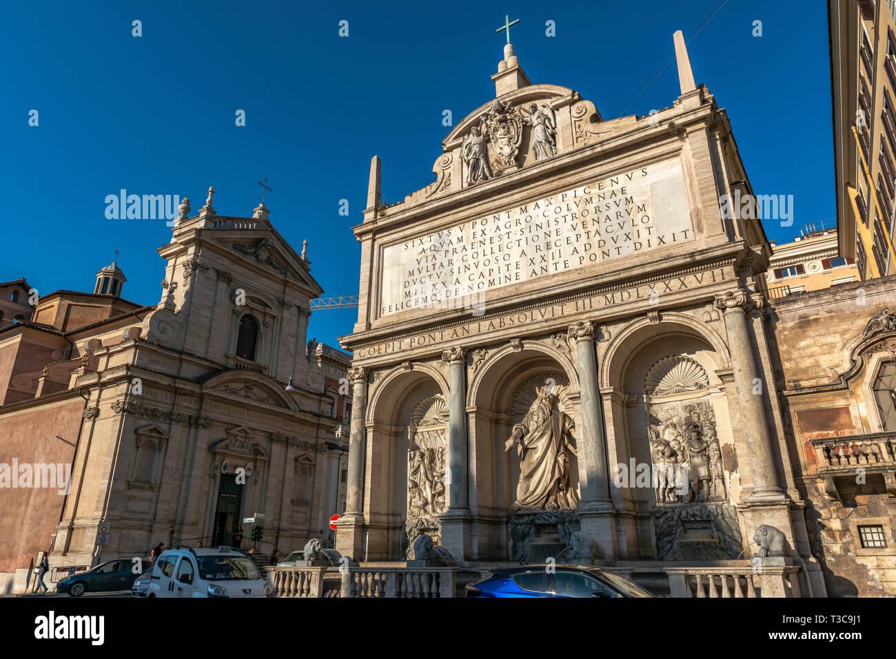 Fontana dell Acqua Felice, Rome, Italy - Stock Image
