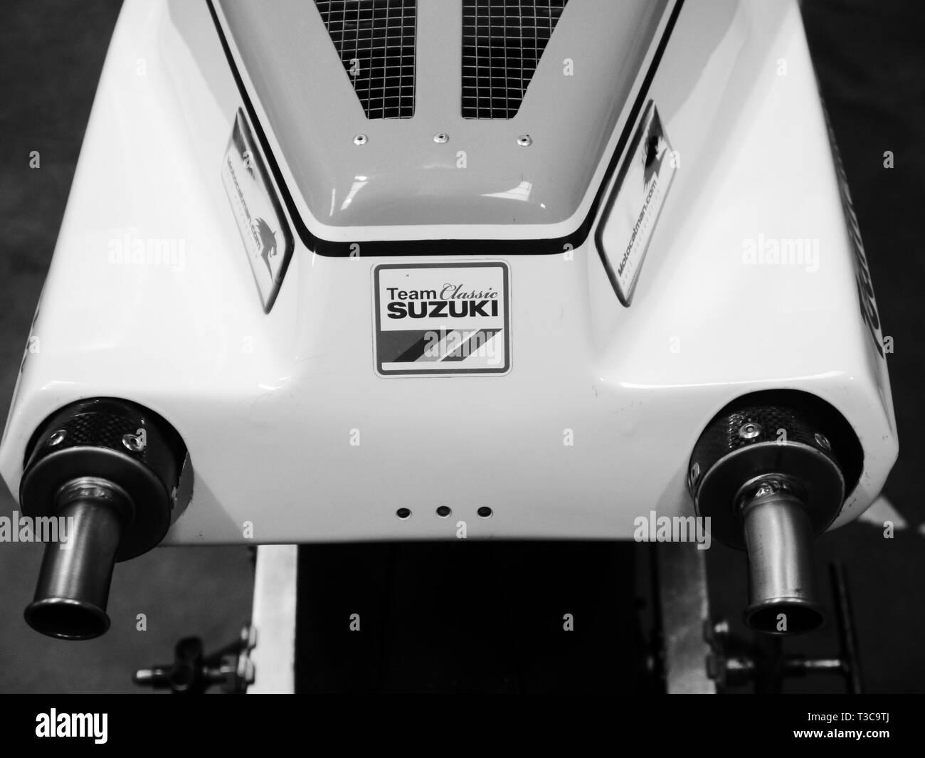 Team Classic Suzuki RG500 as ridden by Danny Webb - Stock Image