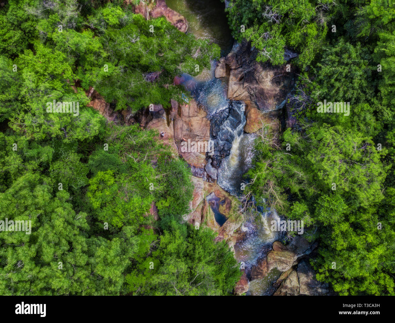 Bird's eye view of the waterfall 'Salto Pai' in the Colonia Independencia in Paraguay. - Stock Image