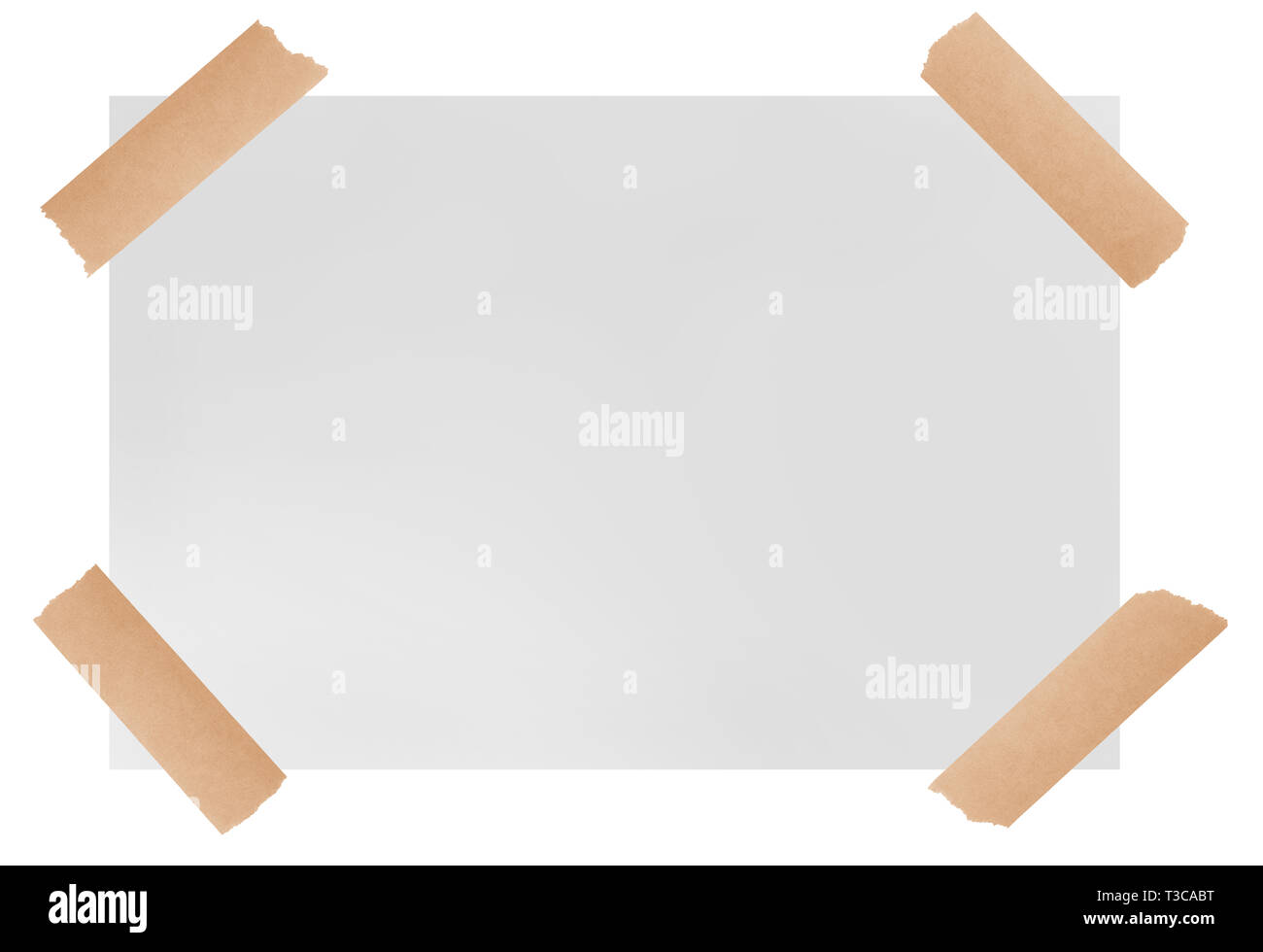 white paper sheet with adhesive tape  isolated on  white background - Stock Image