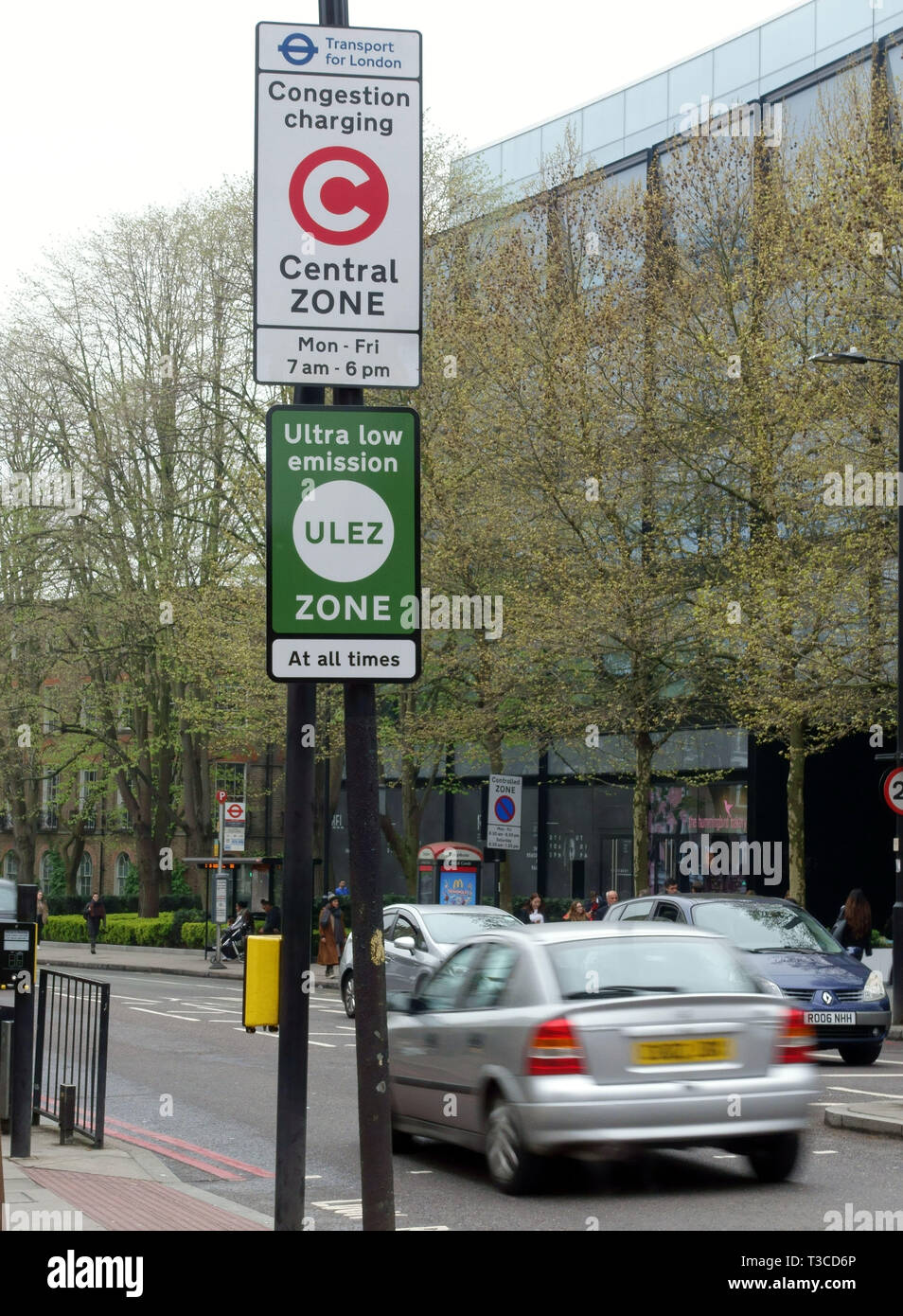 Ultra Low Emission Zone (ULEZ) came into force in the London congestion charge area on 8th April 2019 - Stock Image