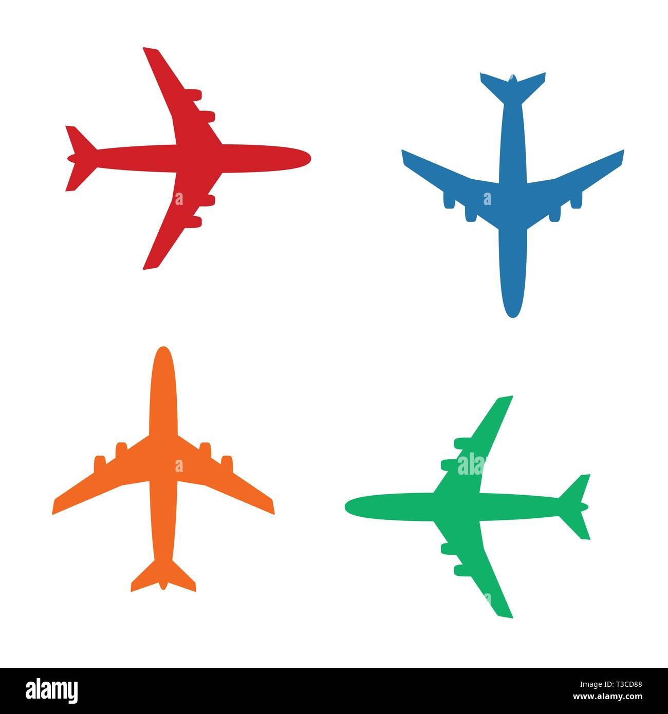 Plane icons vector, solid illustration, color pictograms