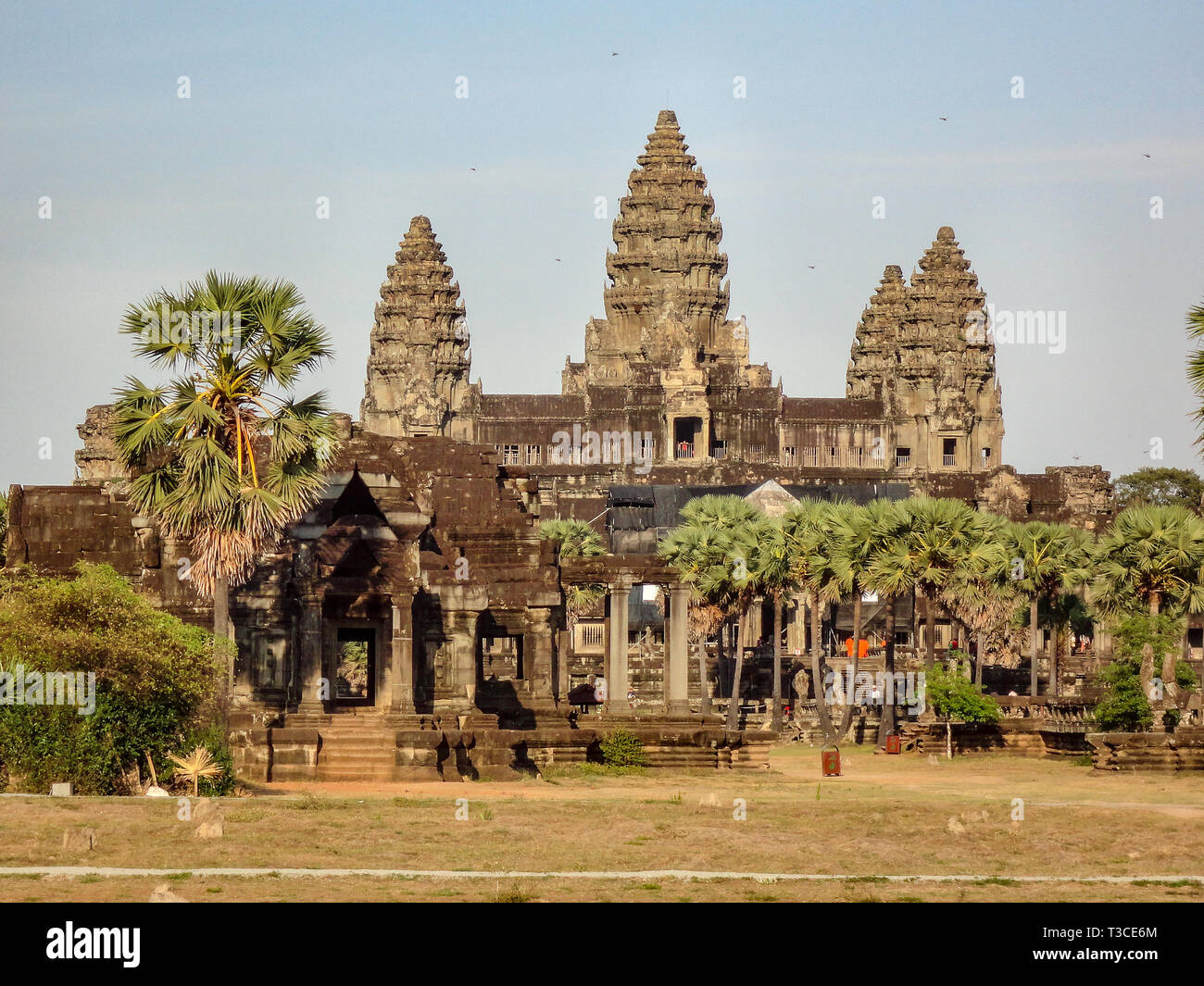 Temple at Angkor Wat. Angkor Wat is a temple complex in Cambodia and one of the largest religious monuments in the world, Stock Photo