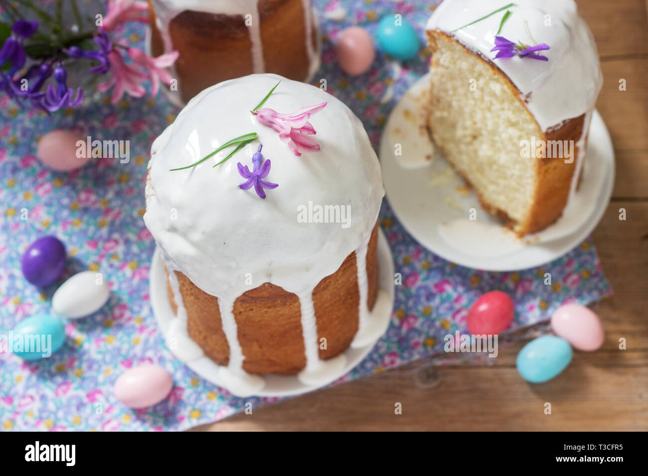 Traditional Homemade Easter Cake In The Easter Decoration