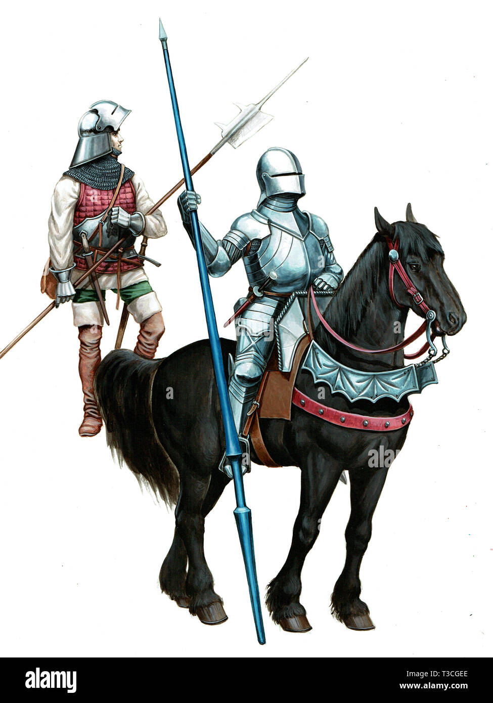 Armoured mounted knight and mercenary illustration. Isolated picture. - Stock Image