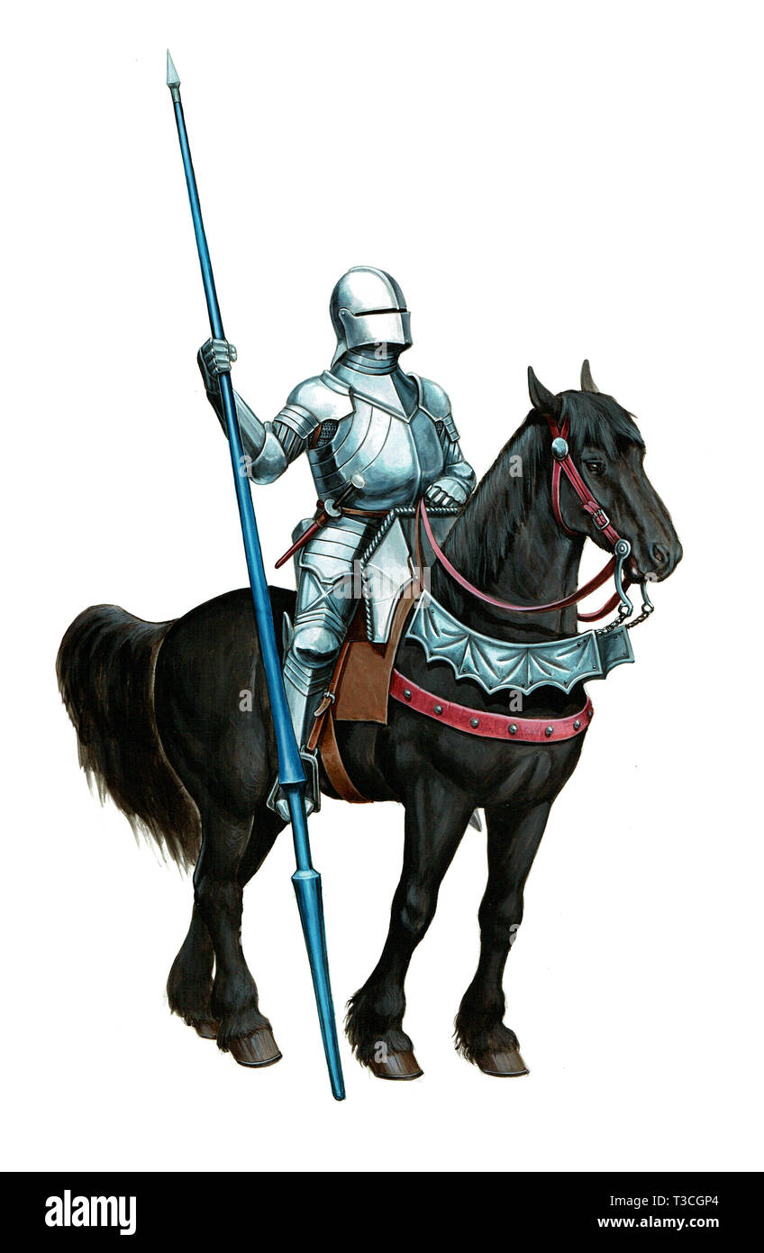 Armoured knight illustration. Mounted knight isolated picture. - Stock Image