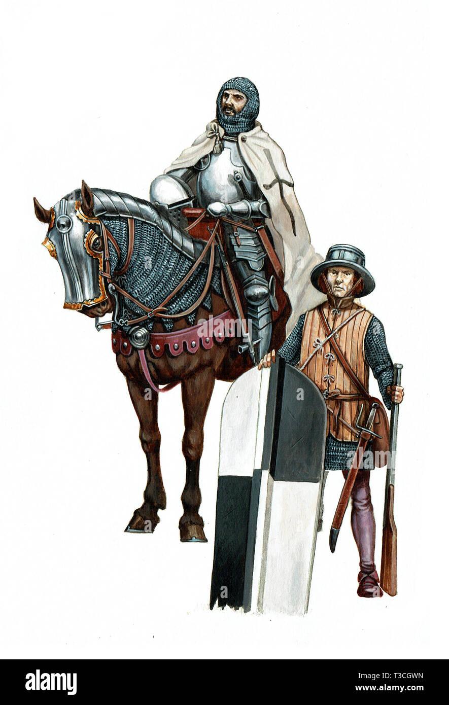Heavy armoured teutonic knight illustration. Mounted knight with mercenary. - Stock Image