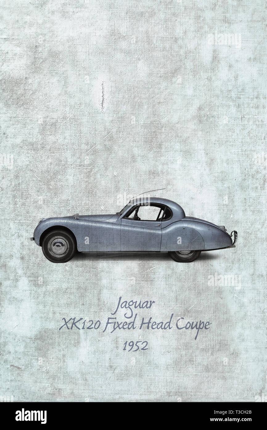 Jaguar  XK120 Fixed Head Coupe, 1952 Stock Photo