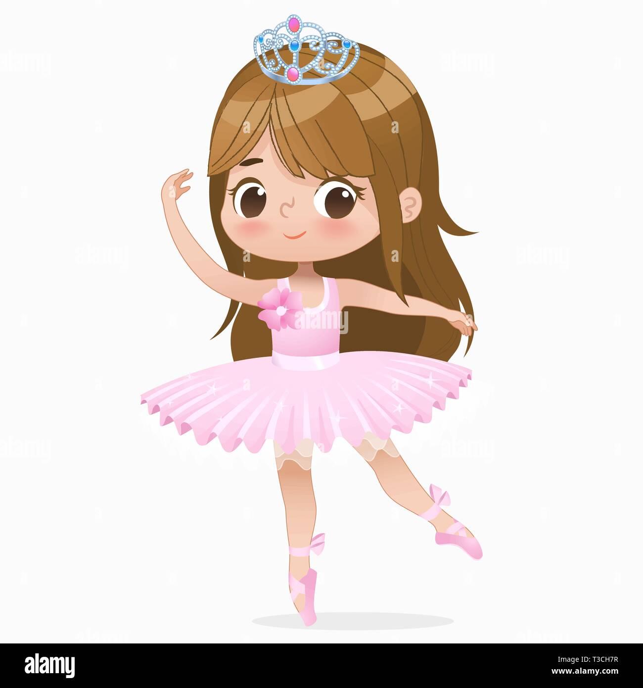 Cute Small Brown Hair Girl Ballerina Dance Isolated Caucasian
