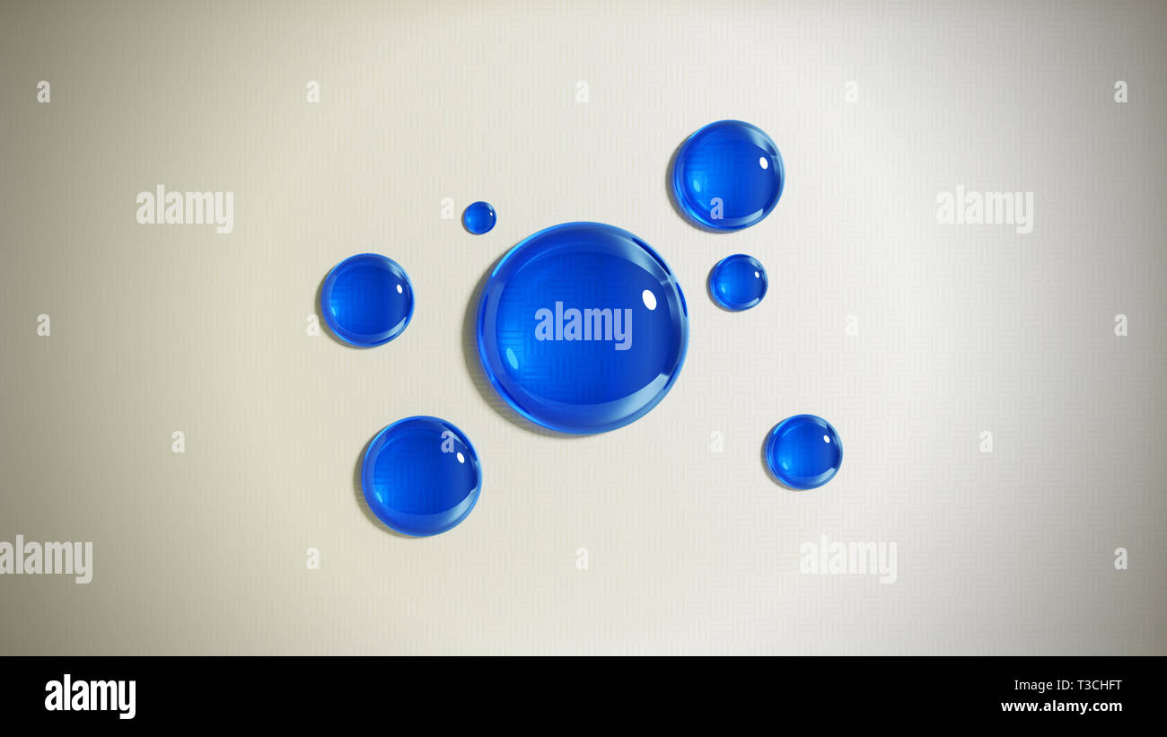 Abstract background with blue glass drops. 3D render illustration. Stock Photo