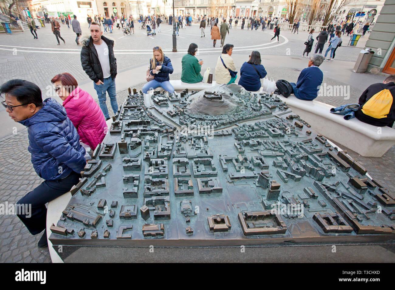 A giant metal map of Ljubljana - Stock Image