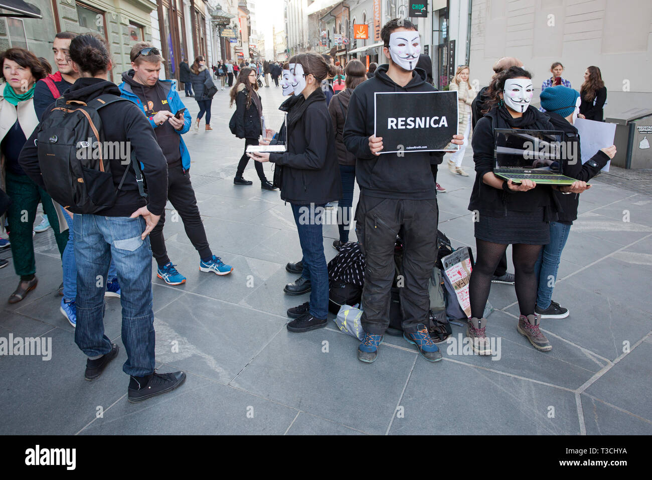 'Resnica' or 'truth' - a protesting the impact of modern, industrial farming on farmed animal - Stock Image