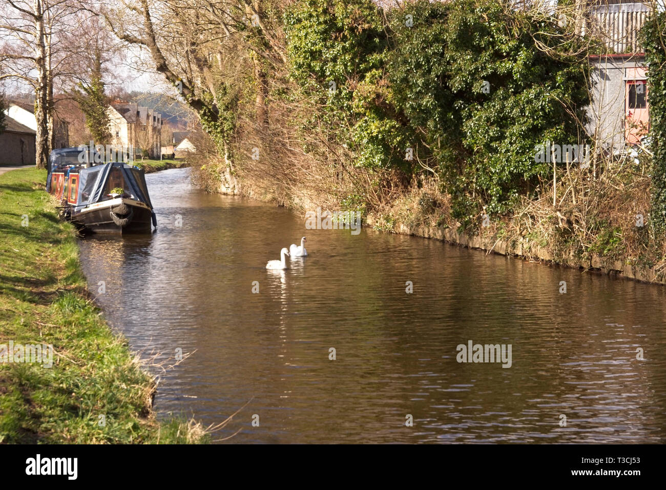Canal waterway at Crickhowell, Brecon, Wales - Stock Image
