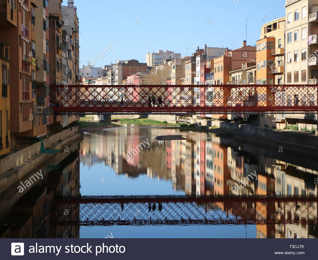 Pont De Les Peixateries Velles Reflections - Stock Image