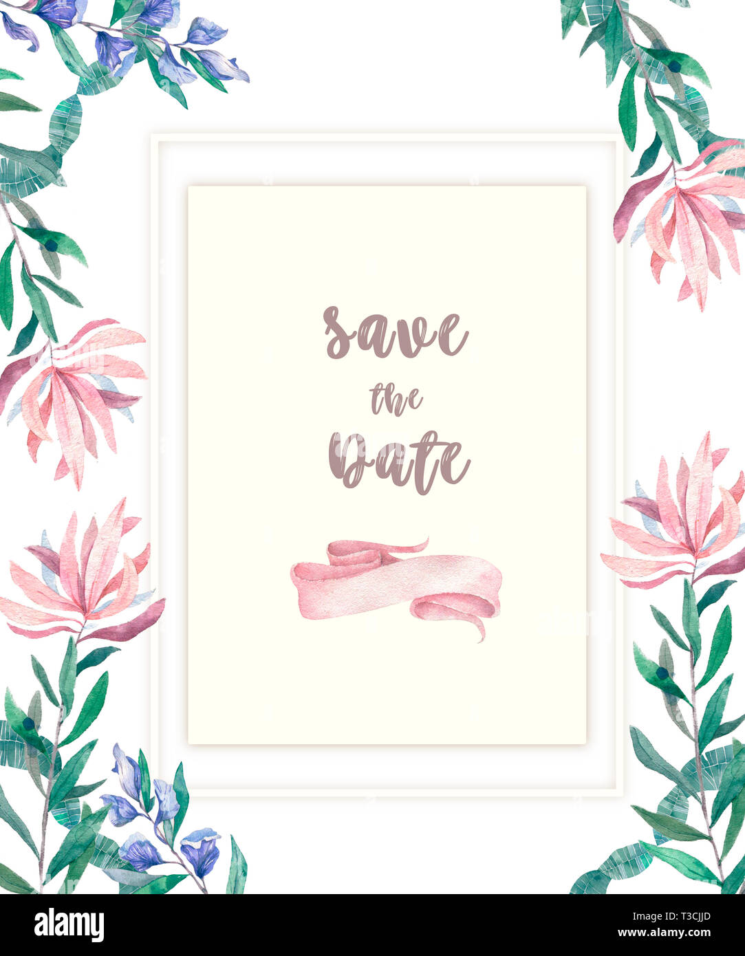 Wedding Invitation Floral Invite Card Pink Flowers And Green Leafs