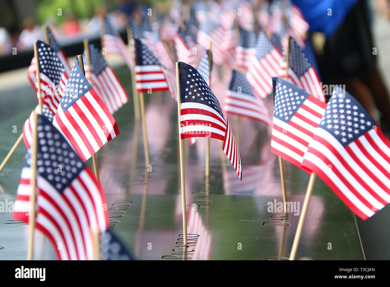 Flags at National September 11 Memorial, NYC 4th July Stock Photo
