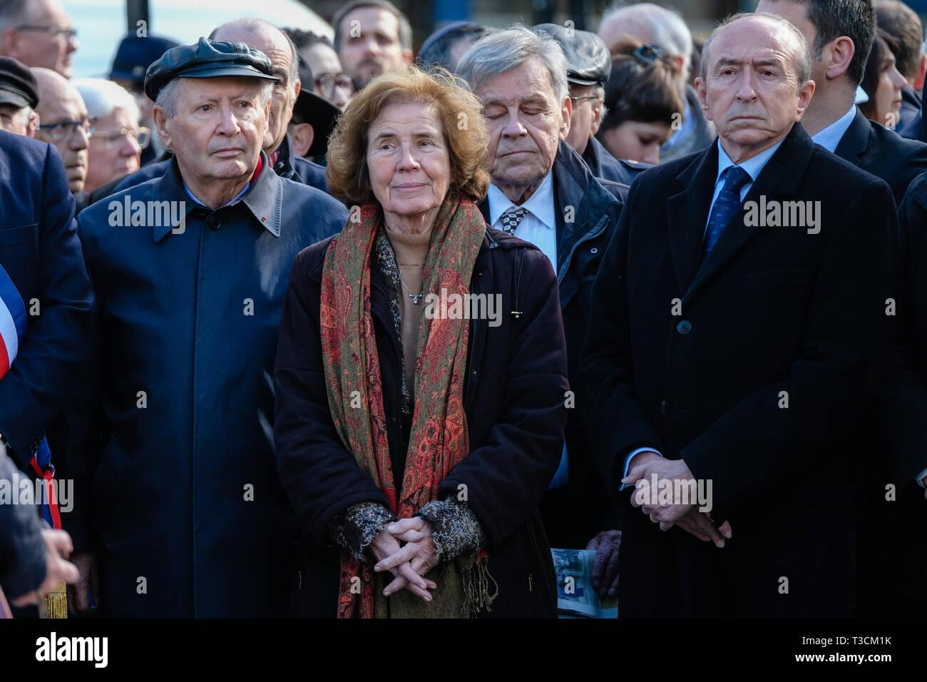 Serge et Beate Klarsfeld with Gérard Collomb the Mayor of Lyon - Stock Image