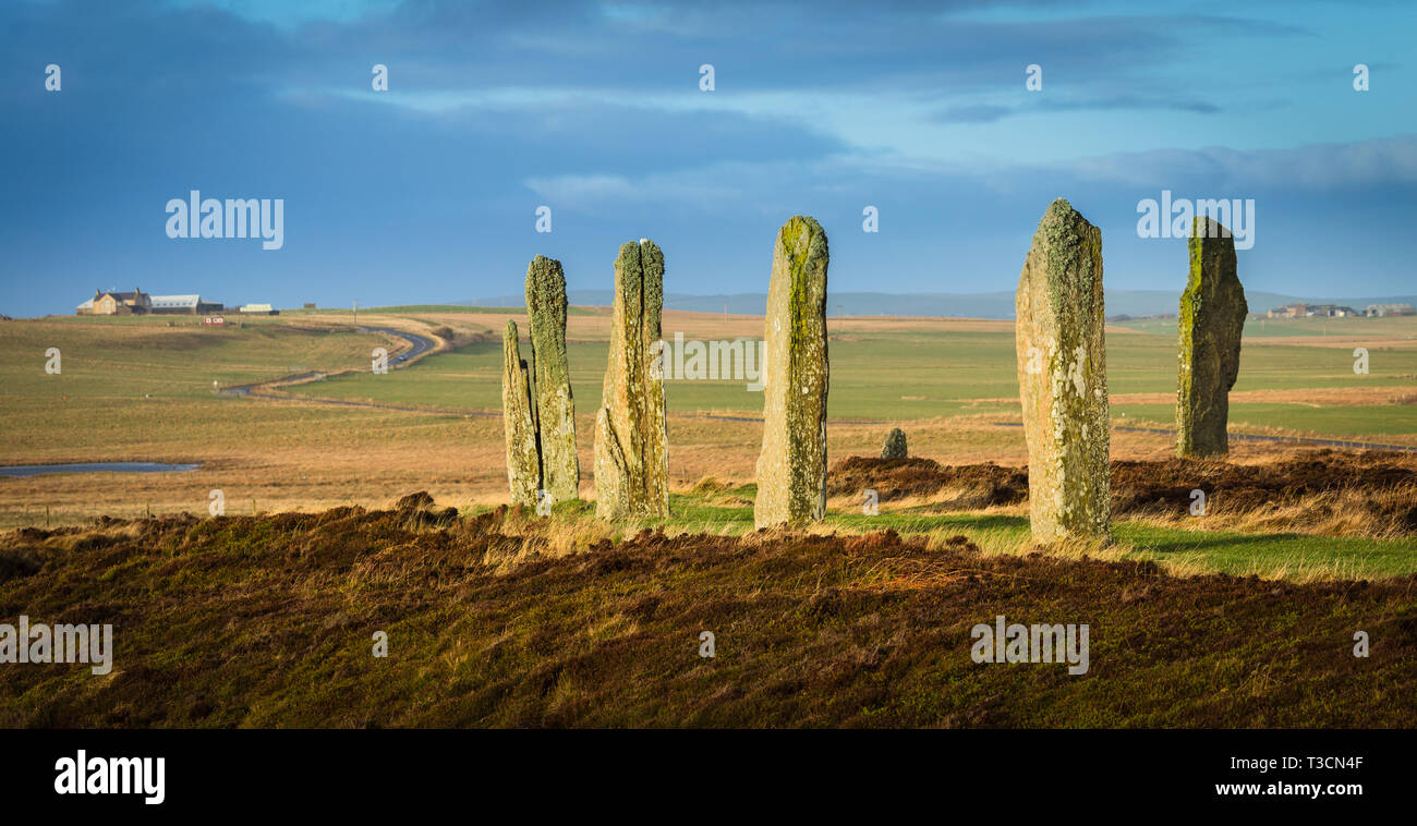 Looking north-west from the Ring of Brodgar neolithic stone circle, Mainland, Orkney Stock Photo