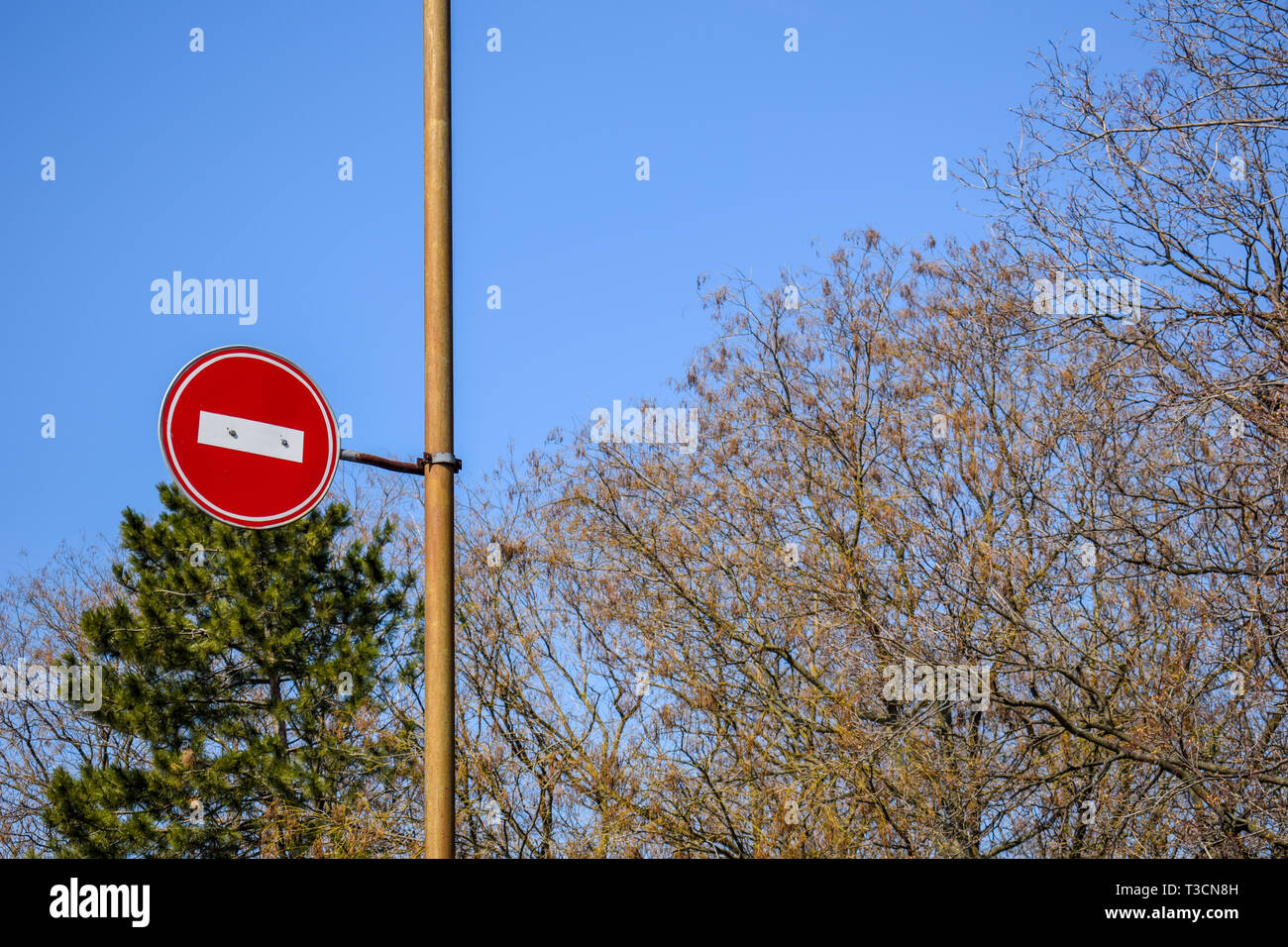 Road sign No entry against the blue sky and trees. Stock Photo