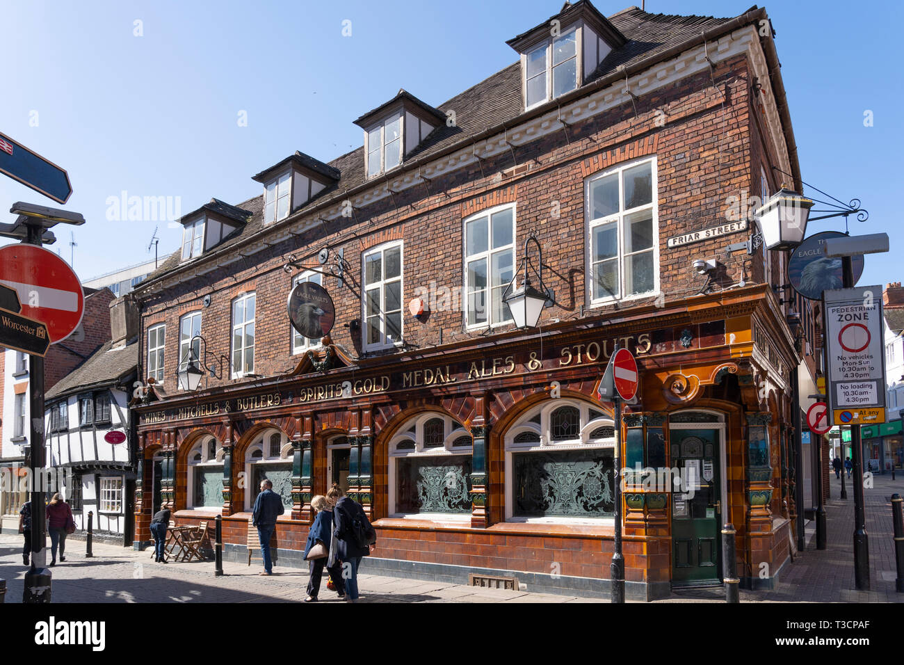The Eagle Vaults Public House is a traditional local and a Grade II listed building with a tiled facade and etched windows in Worcester, England - Stock Image