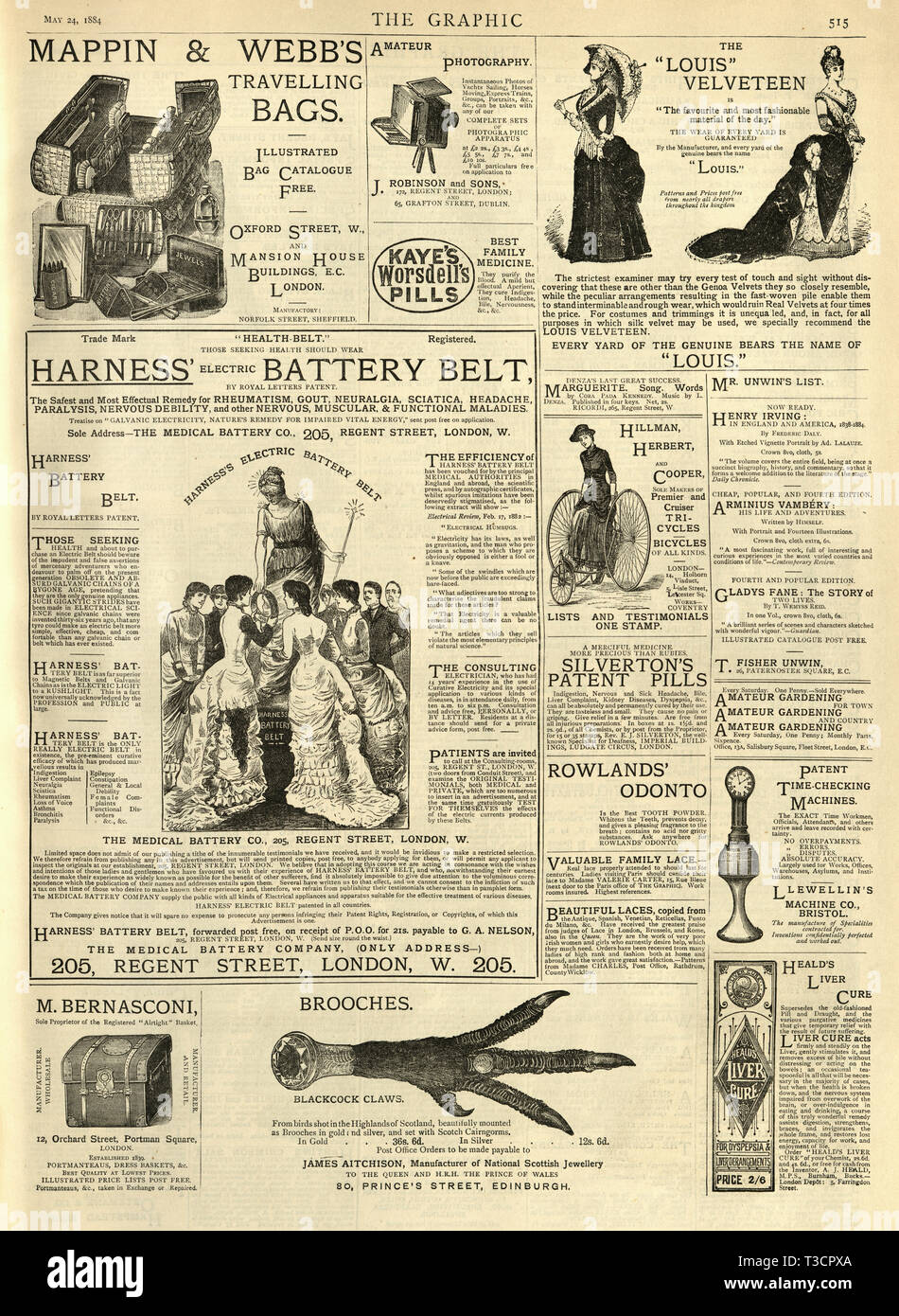 Page of adverts from Graphic illustrated newsapaper 1884, Harness electric battery belt - Stock Image