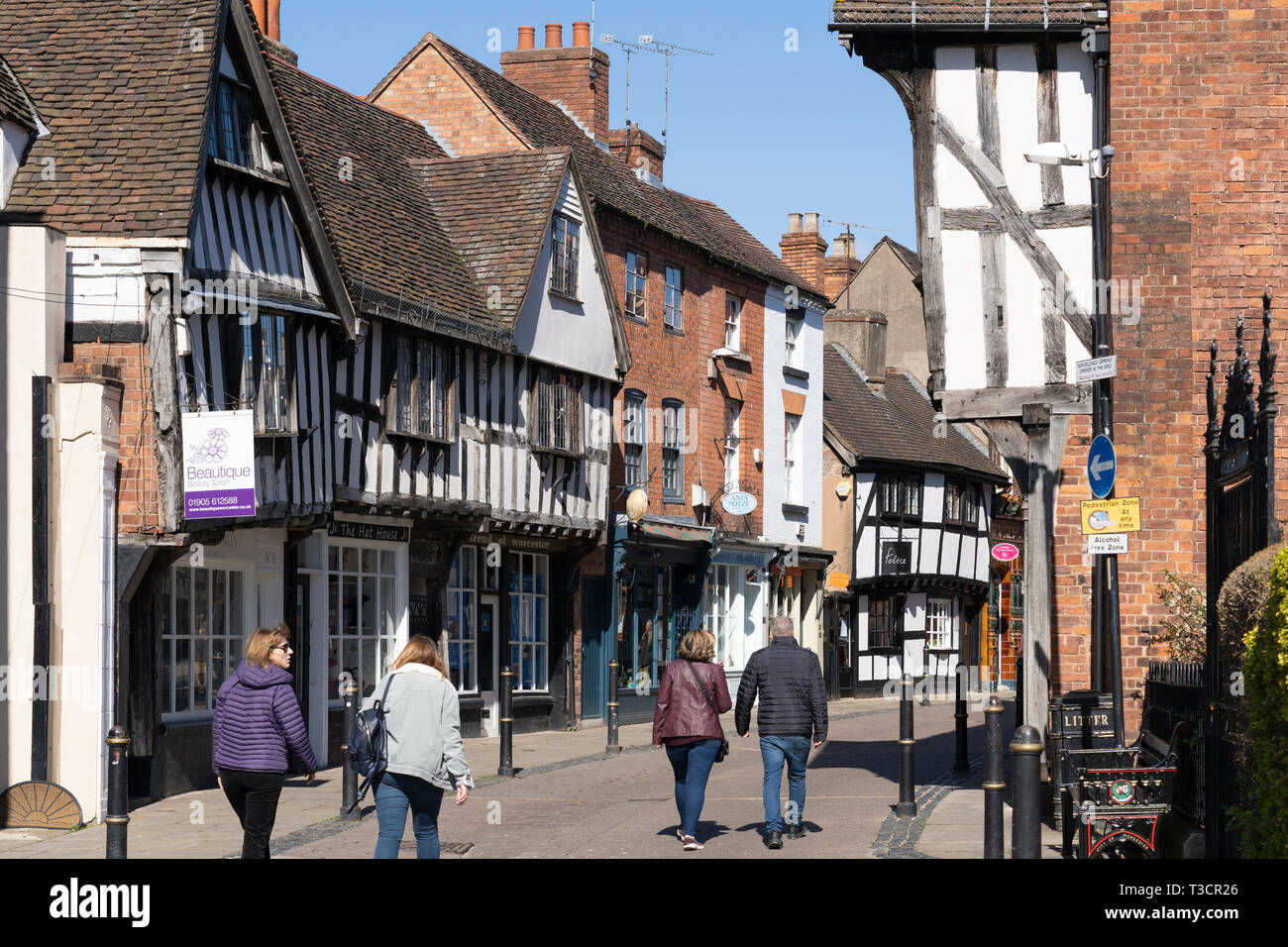 Friar street, the oldest and prettiest street in Worcester, is lined by half timbered Tudor houses - Stock Image