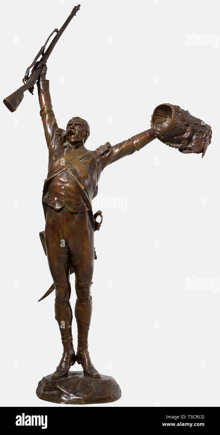 Charles-Edouard Richefeu (1868 - 1945), a bronze sculpture 'Vive l'Empereur' Foot Grenadier of the Garde Impériale (First Empire) with outstretched arms, a musket in his right hand (removable) and a bearskin hat in his left. The artist's signature 'Ch. Richefeu' is on the base. Foundry mark, 'Susse Frères' in Paris. Height 100 cm. Charles-Edouard Richefeu studied under D. Puech and in 1904 became a member of the French Artists Society and exhibited regularly at the Salon des Artistes Francais. Impressive bronze figure with a beautiful dark patina, Additional-Rights-Clearance-Info-Not-Available - Stock Image