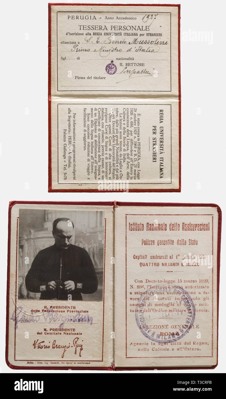 Benito Mussolini, two identifications A membership card for the Milan province war veteran's group, red cover with the symbols of the Associazione Nazionale Combattenti. It has a photograph of Mussolini in a black party uniform, date he joined: '7 November 1919', his profession, 'Publicist', his rank, 'Bersaglieri NCO' in 1st World War, and his decorations, 'Croce al merito di Guerra, 'Cav. O.S.-SS Annuziata.' Issued 1924, Tessera (Identity Card) No.'93', 'Foro Bonaparte 32 - Gruppo Garibaldi'. Dimensions 10.7 x 6.8 cm. Benito Mussolini volunteered in August 1915 for the 11, Editorial-Use-Only - Stock Image