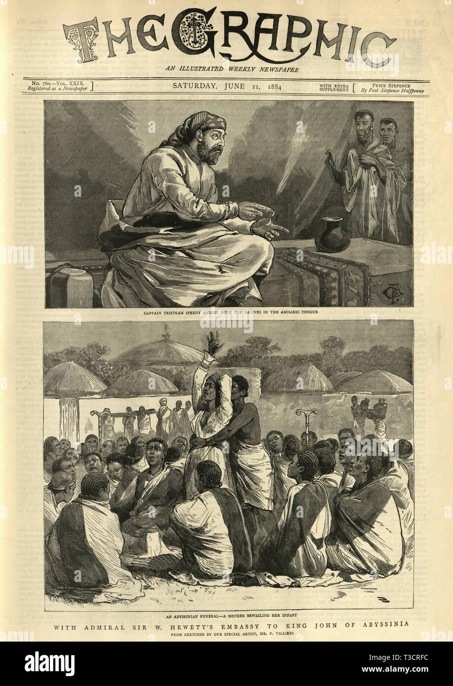 Antique Print 1884 ETHIOPIA King John of Abyssinia on his Throne