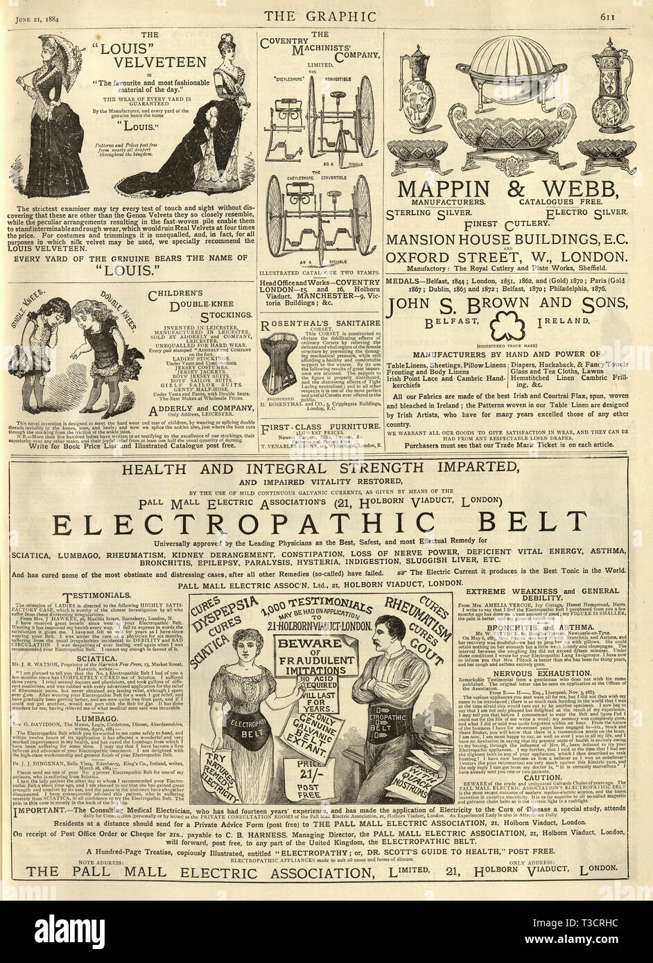 Victorian Advertisements From April 12th 1884 Art Double Sided Antique Print 1884 Chills And Pains