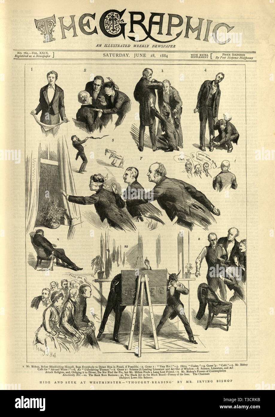 Hide and seek at Westminster, thought reading by Mr Irving Bishop. Front page of the Graphic Illustrated Newspaper June 28th, 1884 - Stock Image