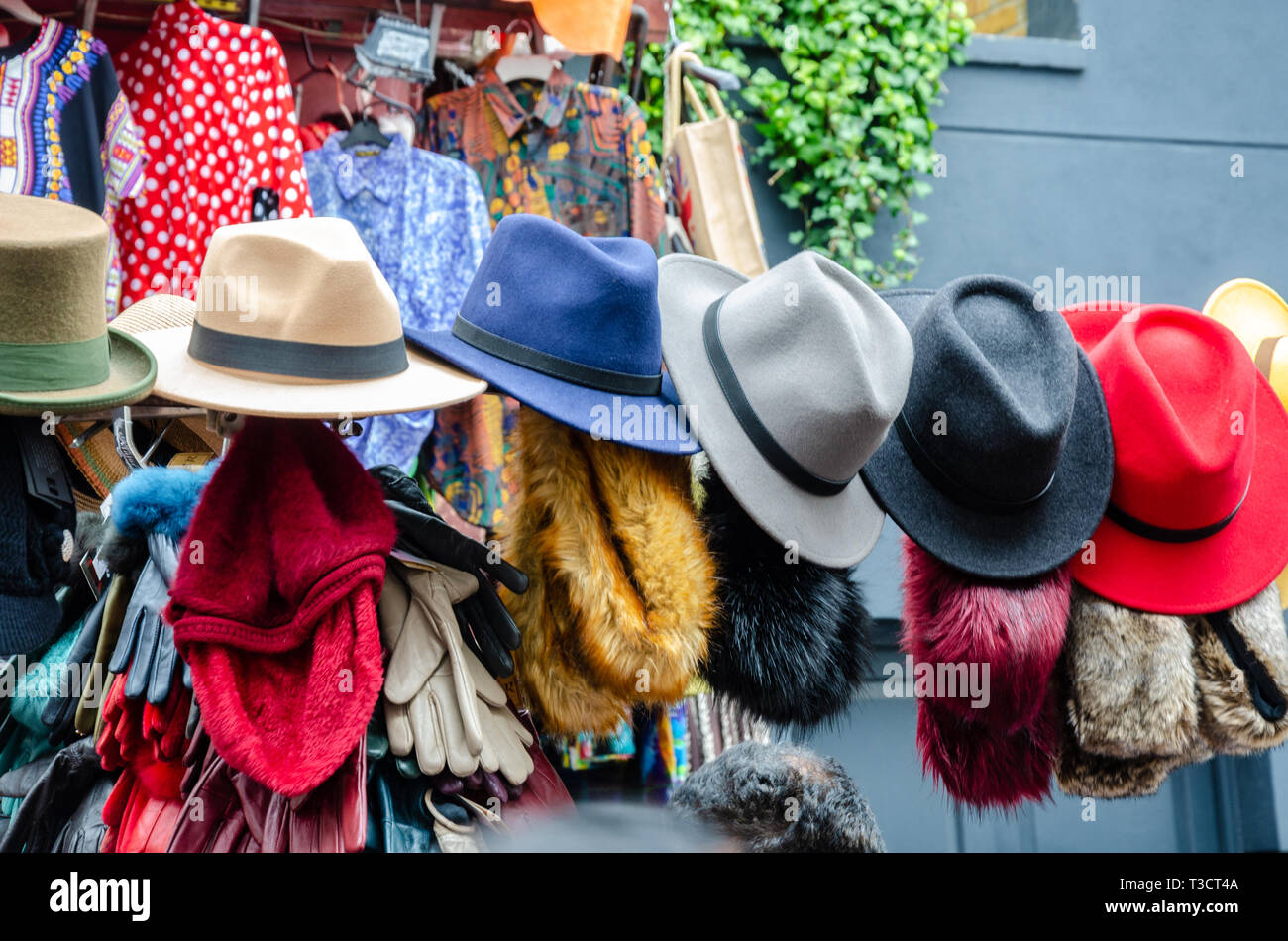 061d31ca3273b Trilby hats hung up on display at a market stall in Portobello Road Market  in London