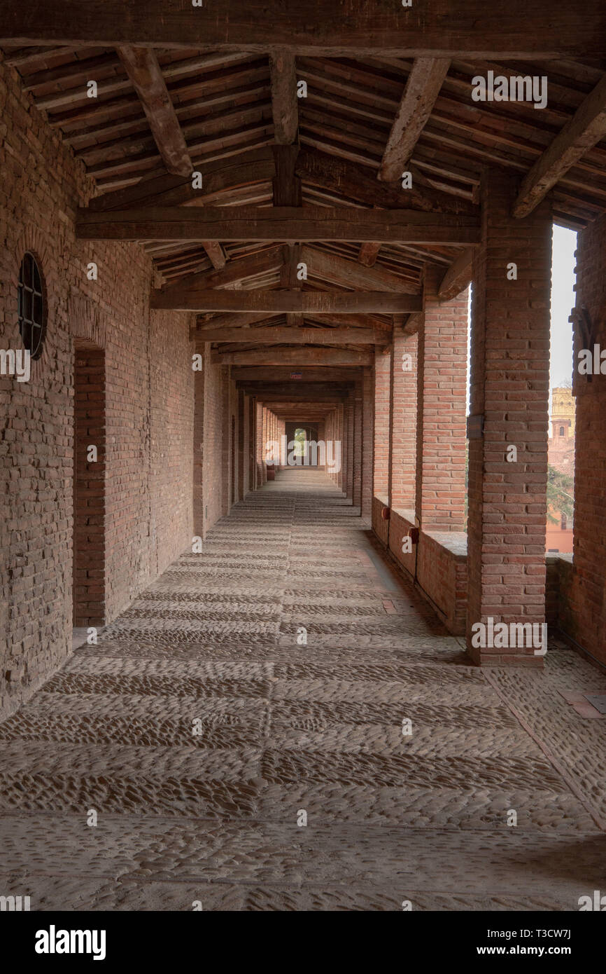 A corridor of Imola stronghold and the walls. italian castle.  no people - Stock Image