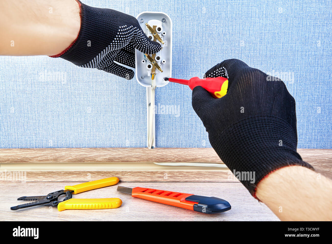 Surprising Worker In Protective Gloves Is Twisting Screw In New Electric Outlet Wiring Digital Resources Spoatbouhousnl