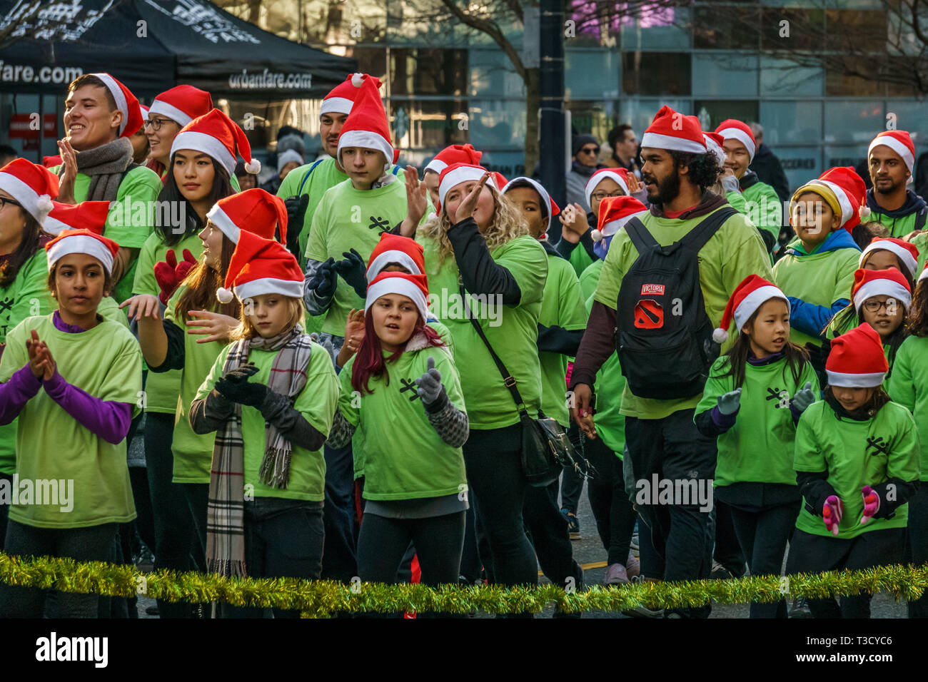 Vancouver Christmas Parade.Vancouver Canada December 2 2018 People Participating
