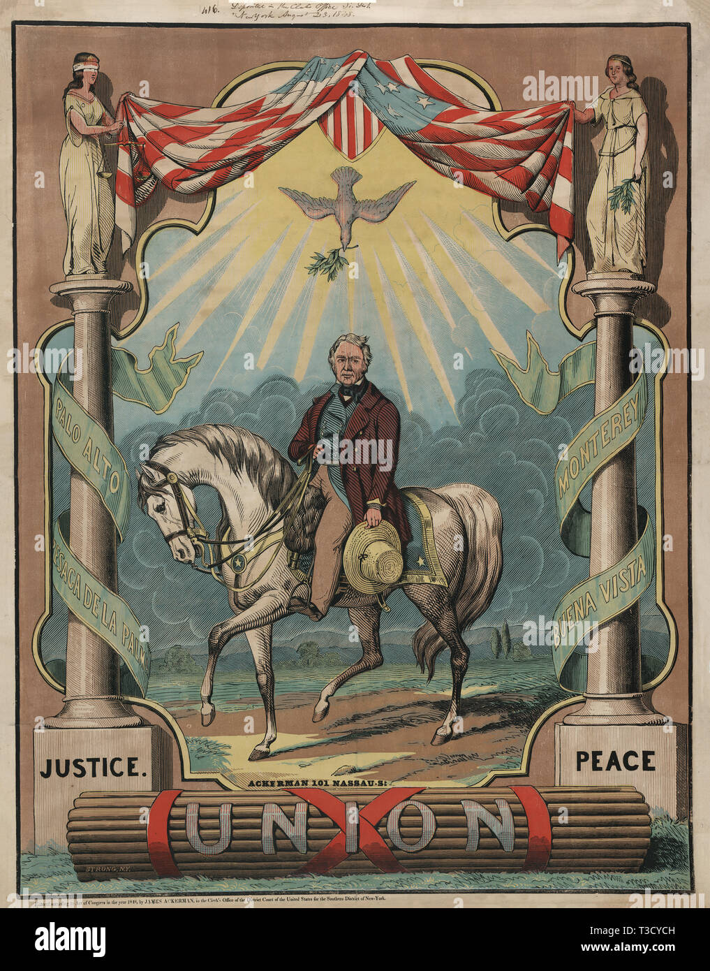 Campaign Poster for Democratic Nominee Zachary Taylor, Lithograph, Thomas W. Strong, Ackerman Publ., 1848 - Stock Image