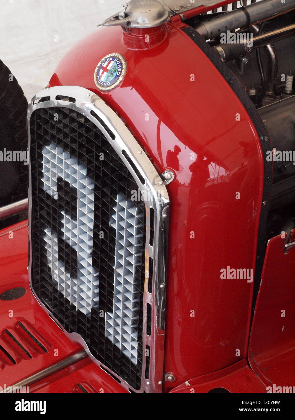Late 1930's Alfa Romeo race car grill emblazoned with a white number 31 on the front. The race was part of the vintage races held in Watkins Glen, NY - Stock Image