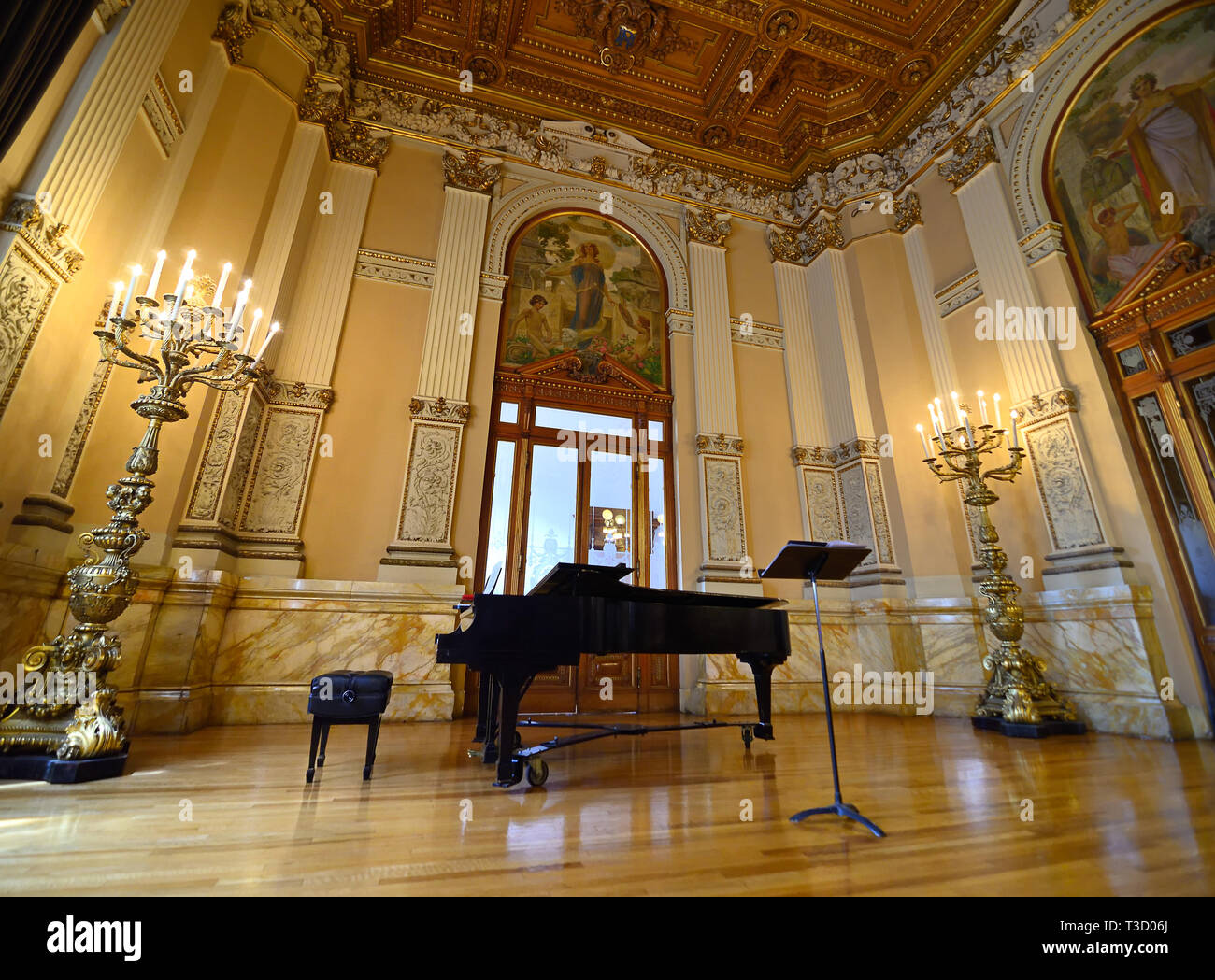 Mexico City, Mexico - March 10, 2019: Interior of Museo Nacional de Arte (MUNAL) old Palace of Communications in Mexico City. - Stock Image