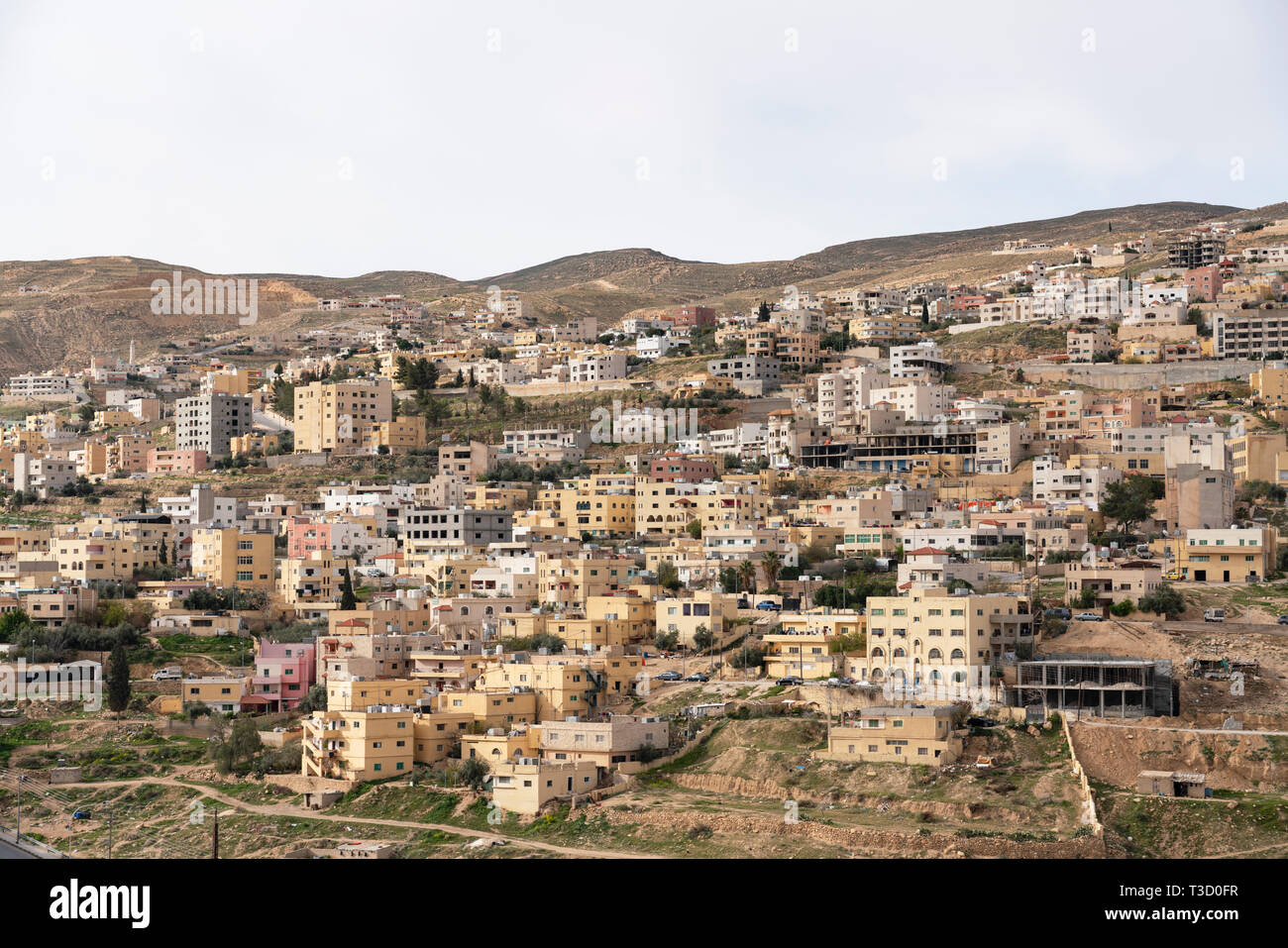 View of housing in town of Wadi Musa ( Petra) in Jordan, Middle East - Stock Image