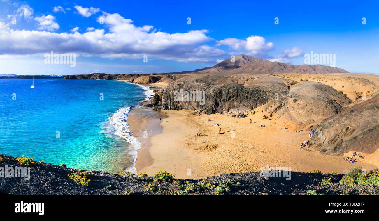 Beautiful Papagayo beach,panoramic view,Lanzarote island,Spain Stock Photo
