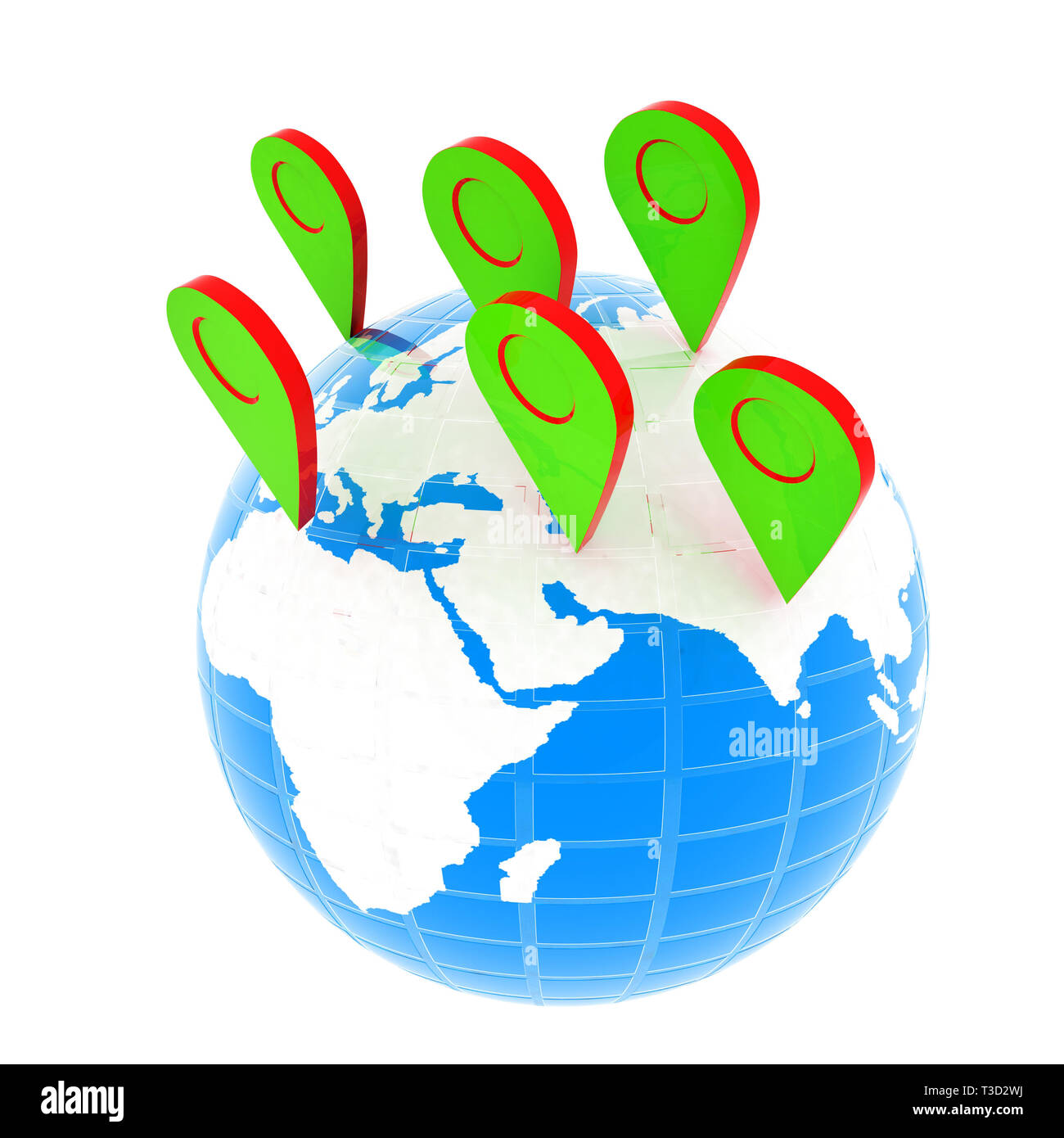 Planet Earth and map pins icon. Earth globe and colorful map labels. Modern graphic elements for web banners, websites, printed materials, infographic Stock Photo