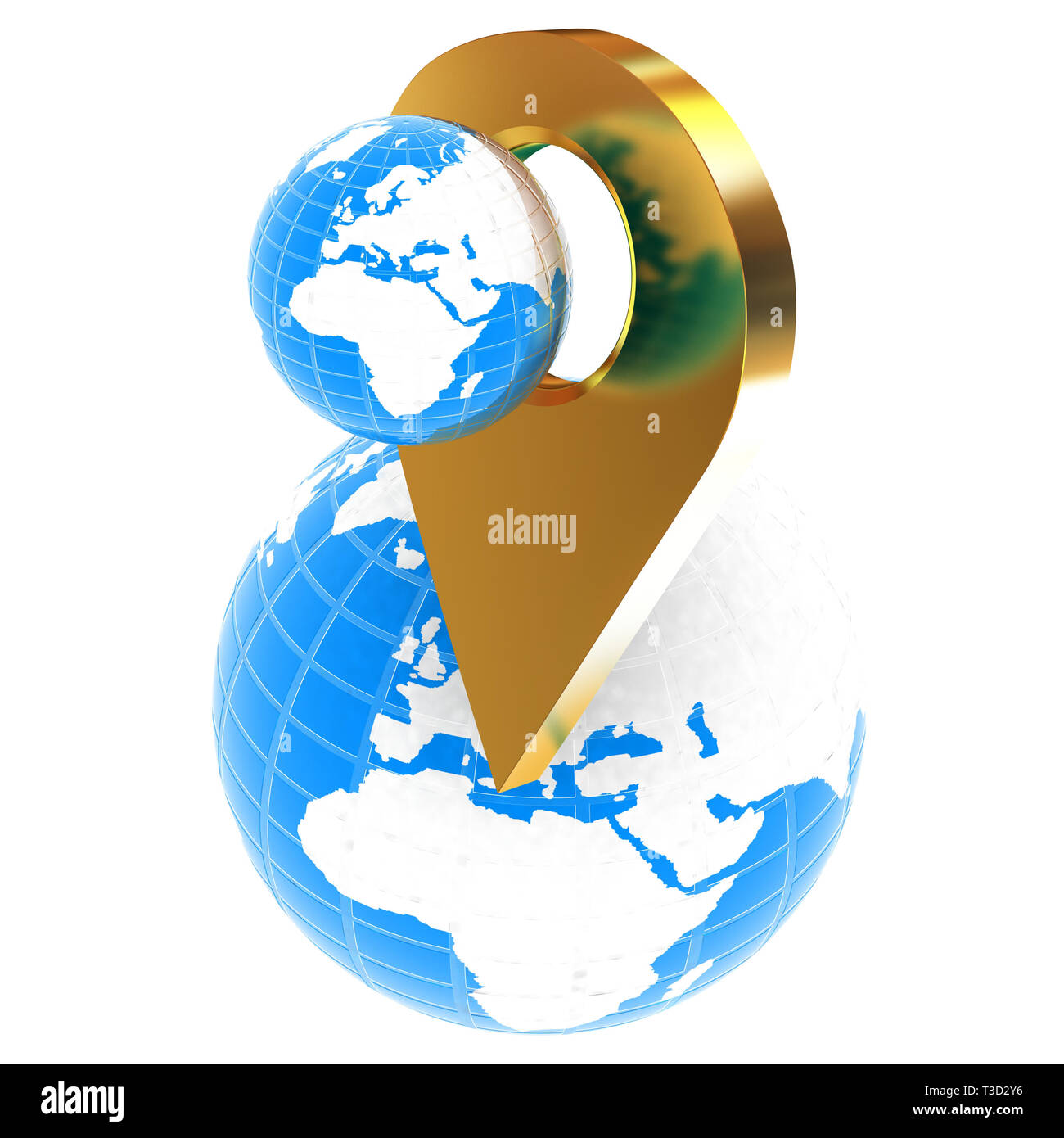 Planet Earth and golden map pins icon on Earth. 3d illustration. - Stock Image