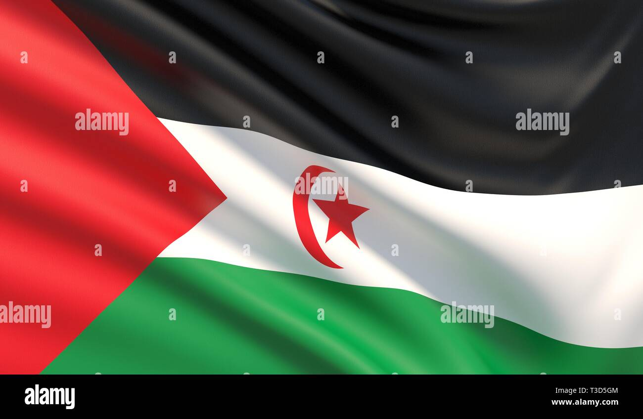 Flag of the Sahrawi Arab Democratic Republic. Waved highly detailed fabric texture. 3D illustration. - Stock Image